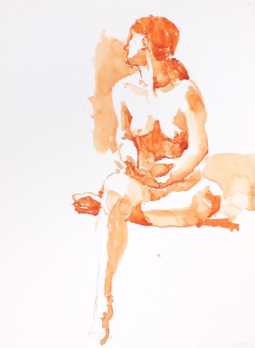 Seated Nude with Right Leg Bent Under Left with Head Turned Left