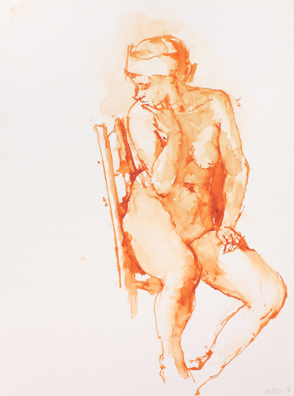 Seated Nude on High Back Chair with Head Turned to Left