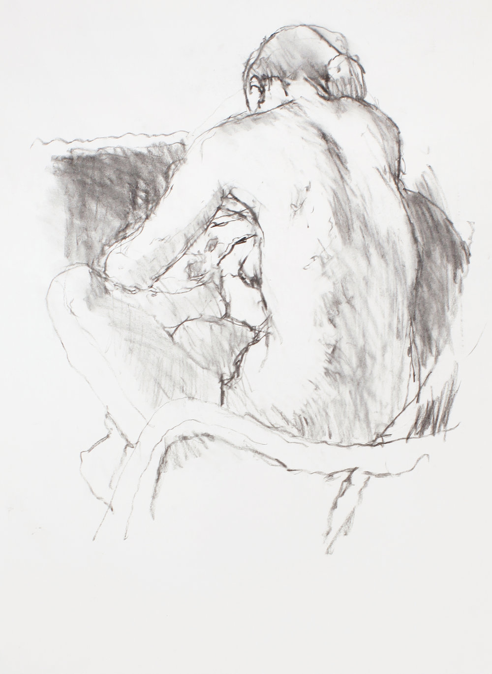 Nude in Chair with Bent Head From the Back