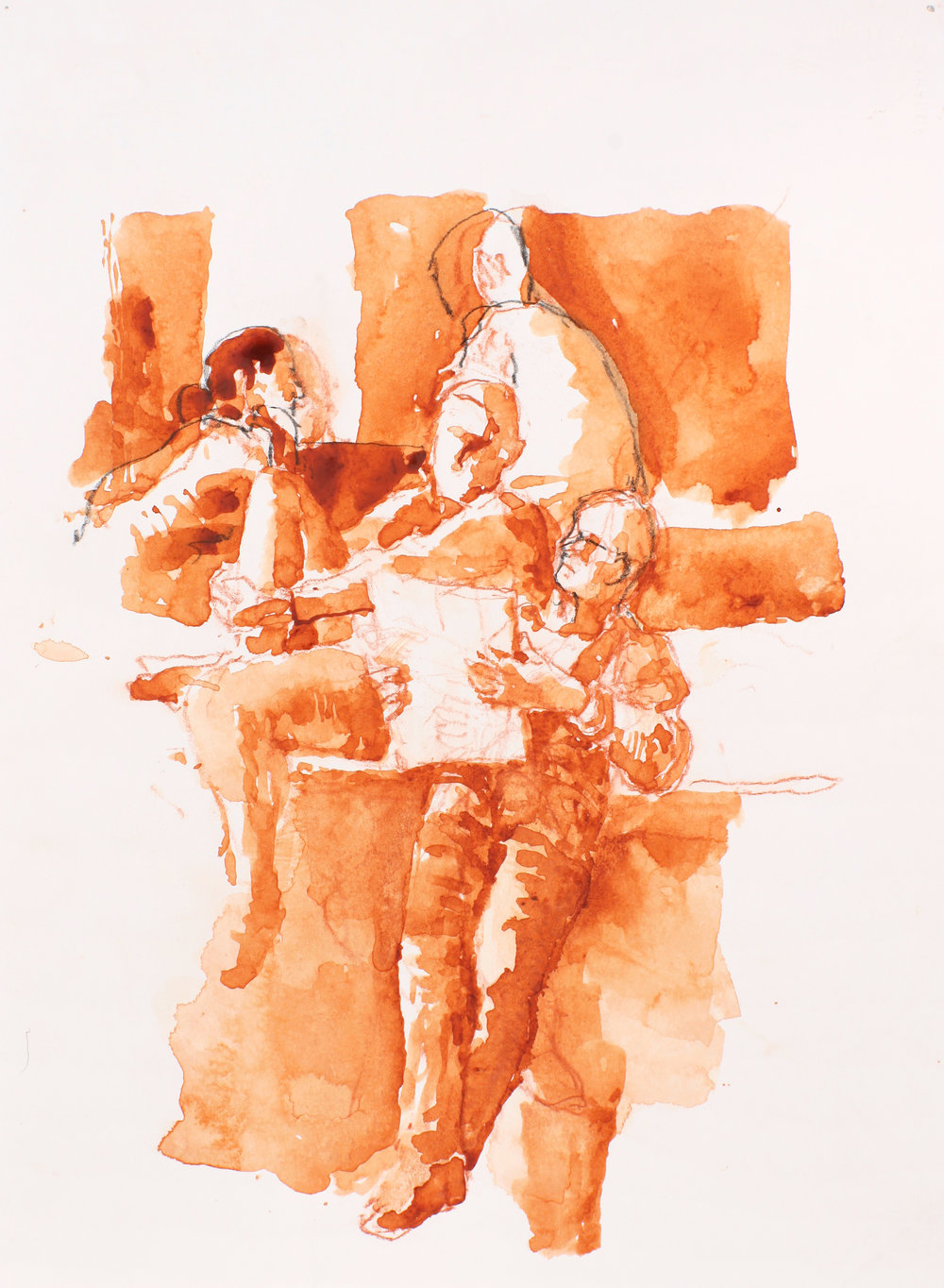 Three Seated Figures Reading