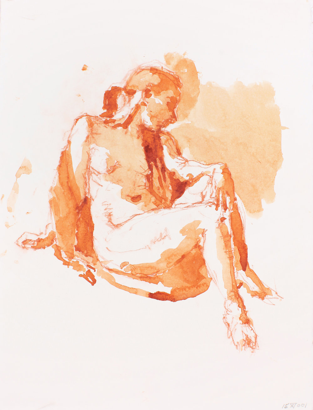 Seated Nude with Shawl in Three Quarter Profile
