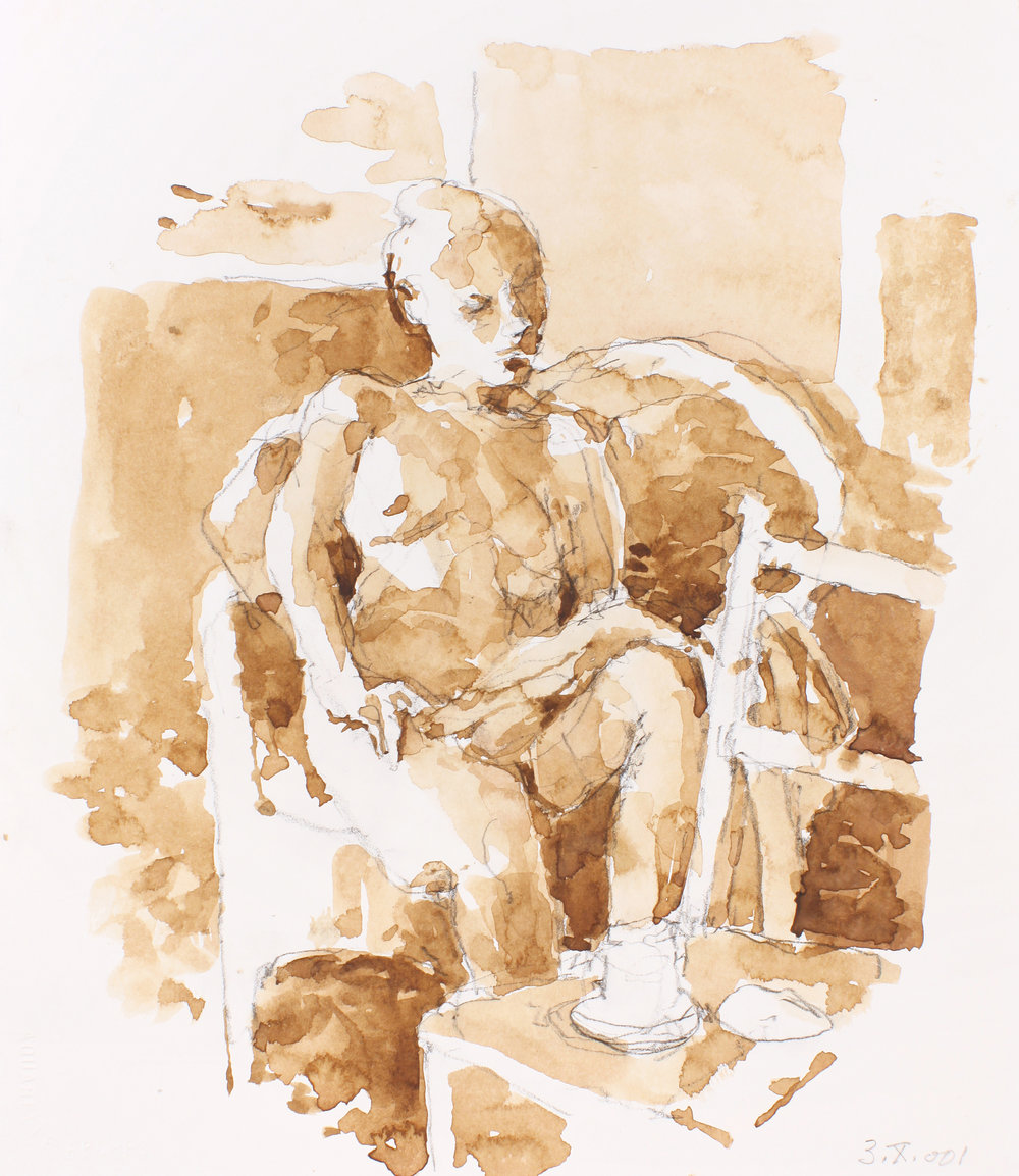 Seated Nude with Coffee cup on Chair