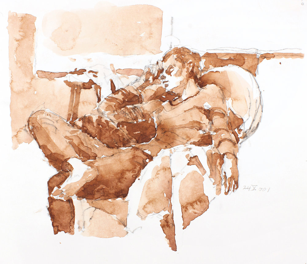 Male Figure with Crossed Legs in Rattan Chair