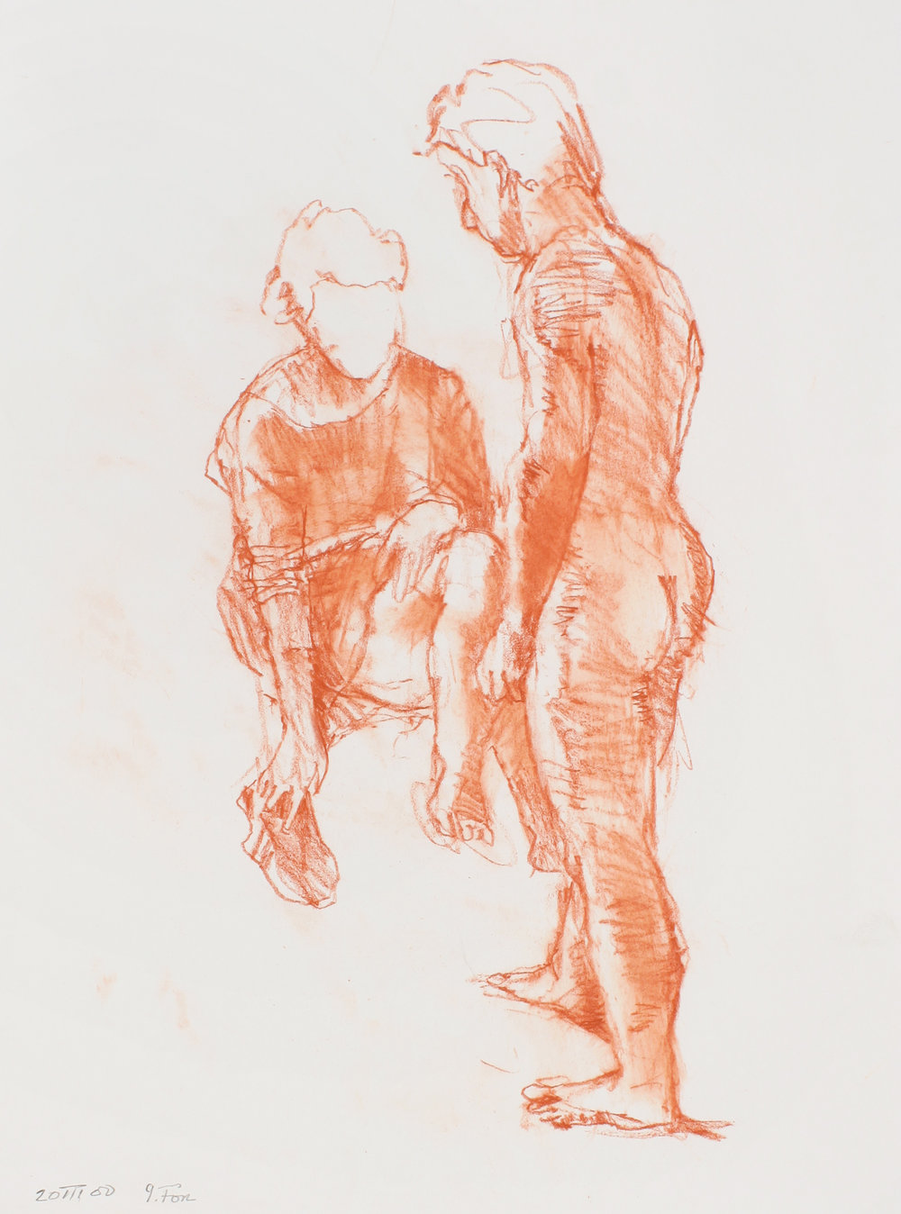 Seated Woman with Standing Male Nude