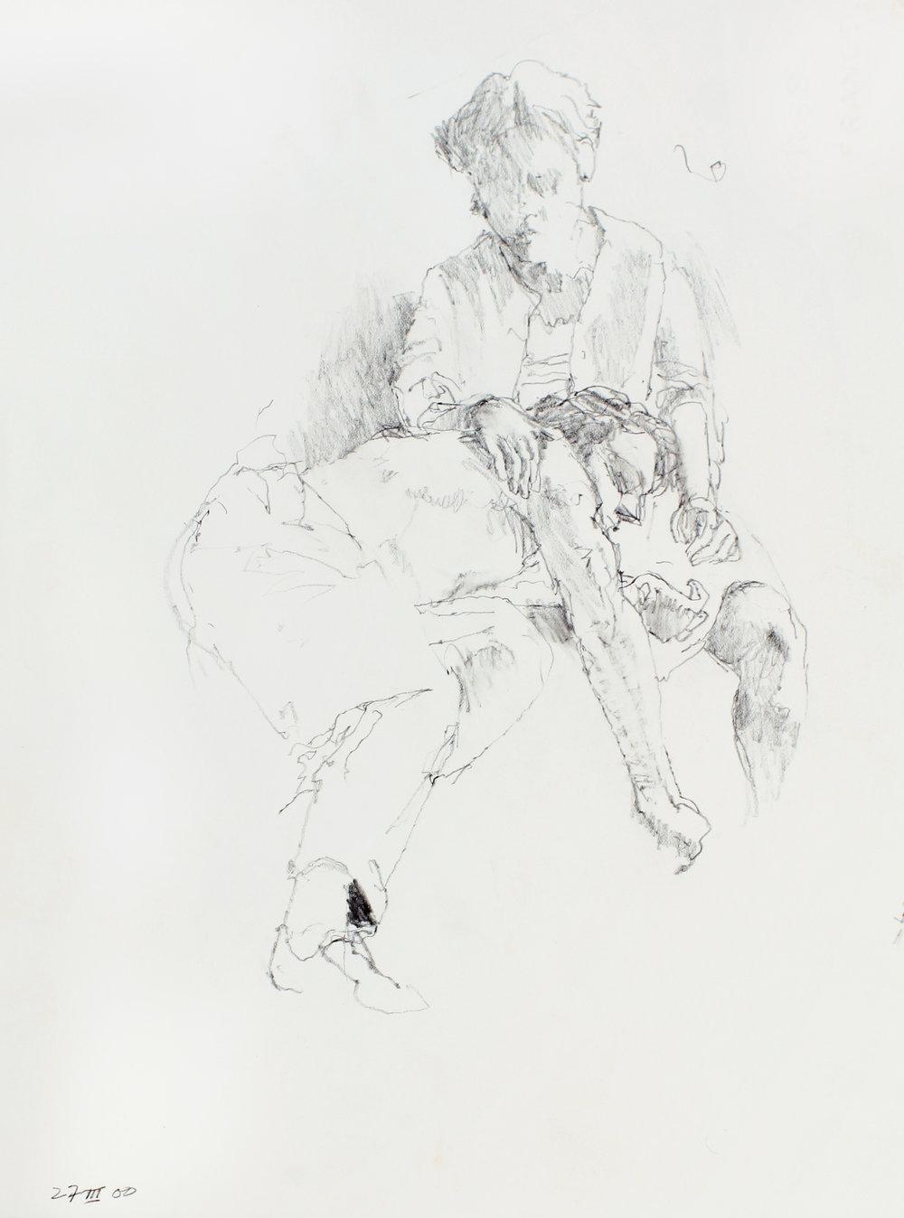 Female Figure Reclining on Lap of Male Figure