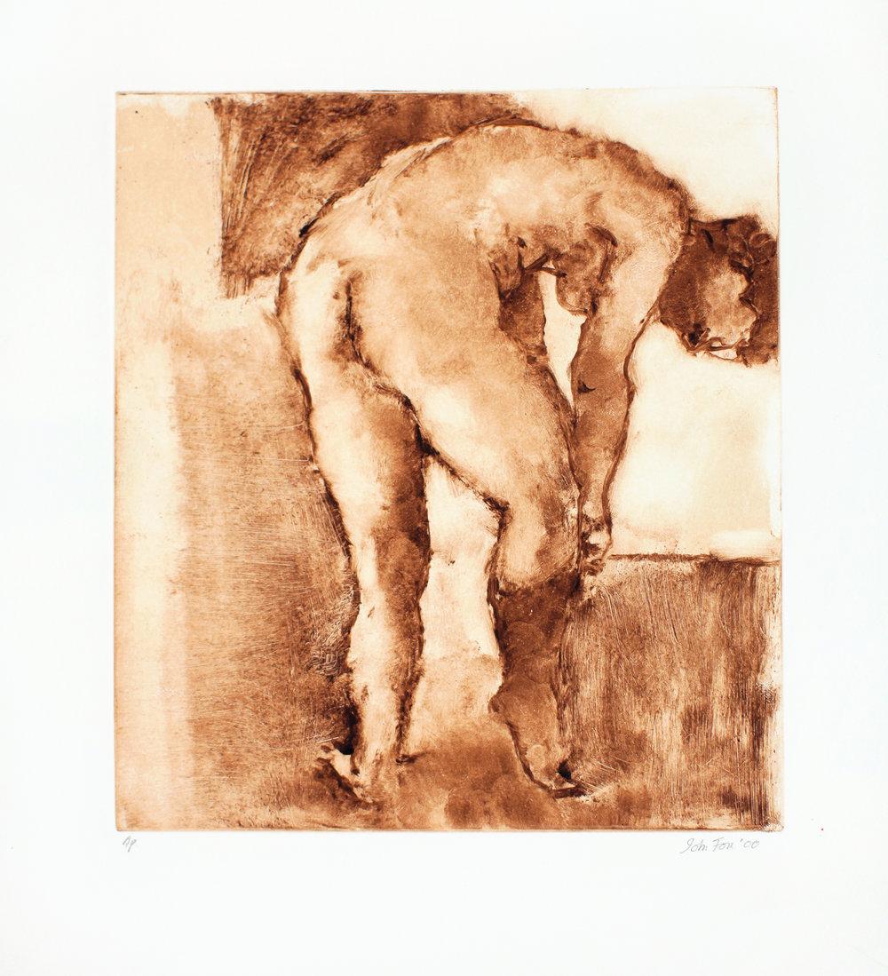 Nude Putting on Sock