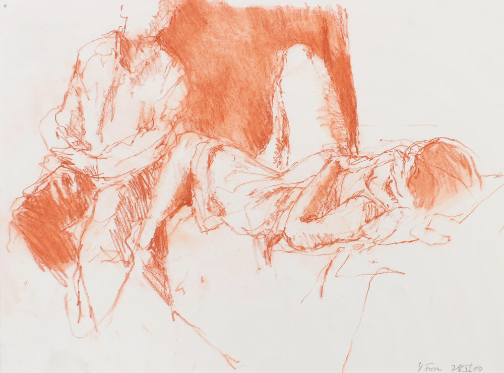 Standing Male Figure and Female reclining on Sofa