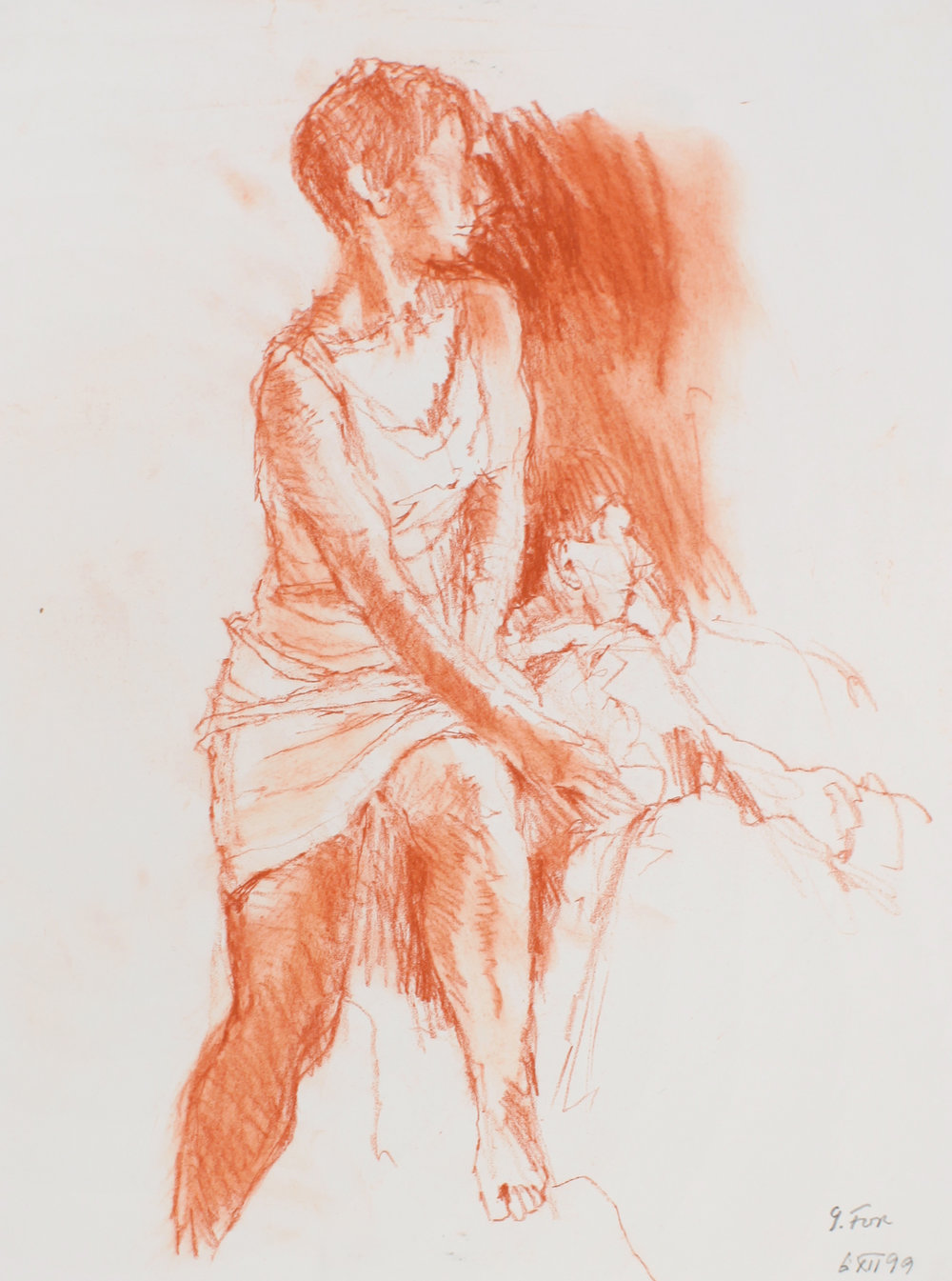 1999_Seated_Female_Wearing_Dress_red_conte_on_paper_15x11in_WPF543.jpg