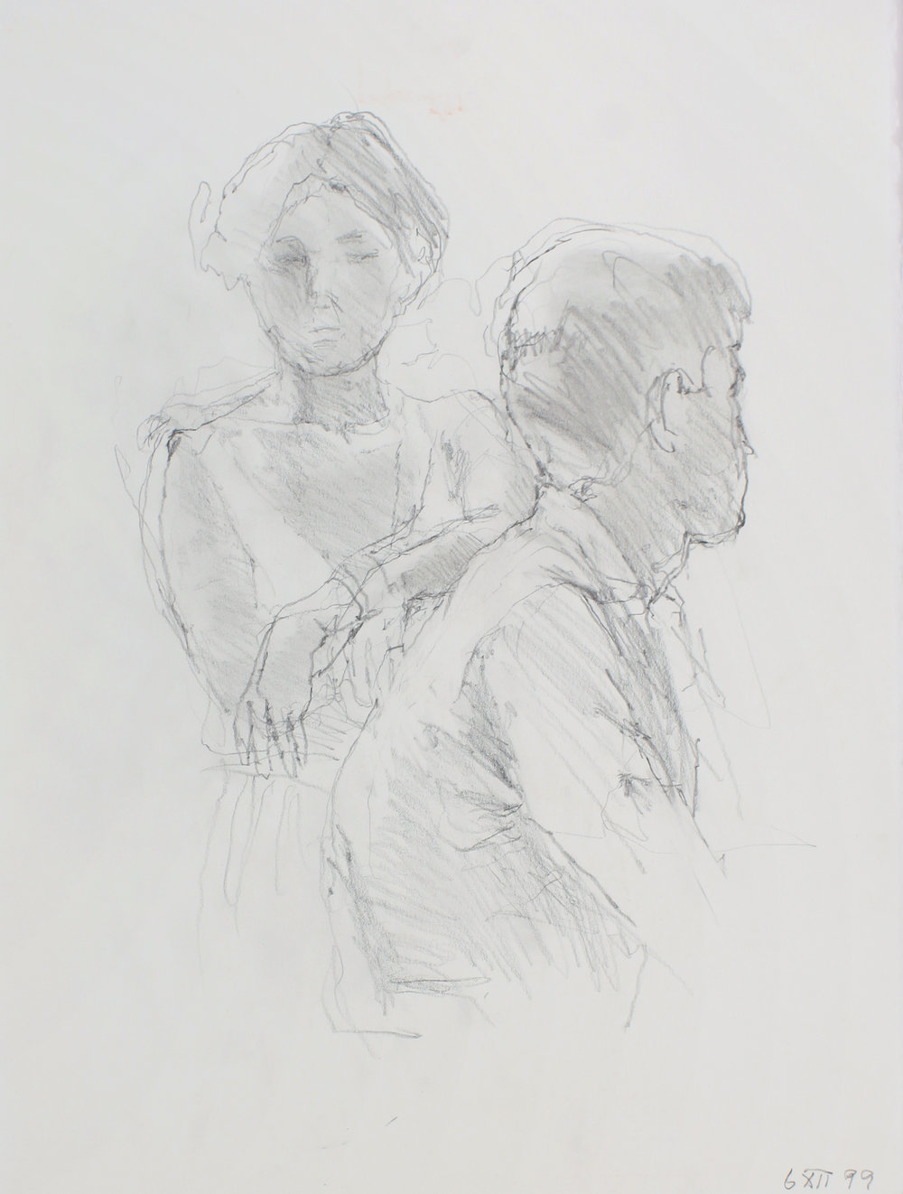 Facing Female with Male Figure in Profile
