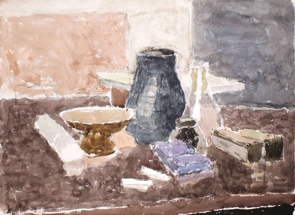 Still Life with Black Vase and Bronze Dish