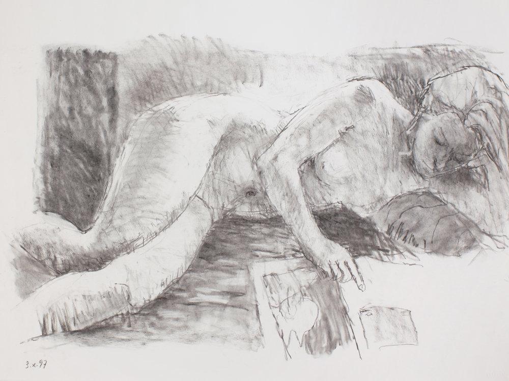 Reclining Nude Reading Newspaper