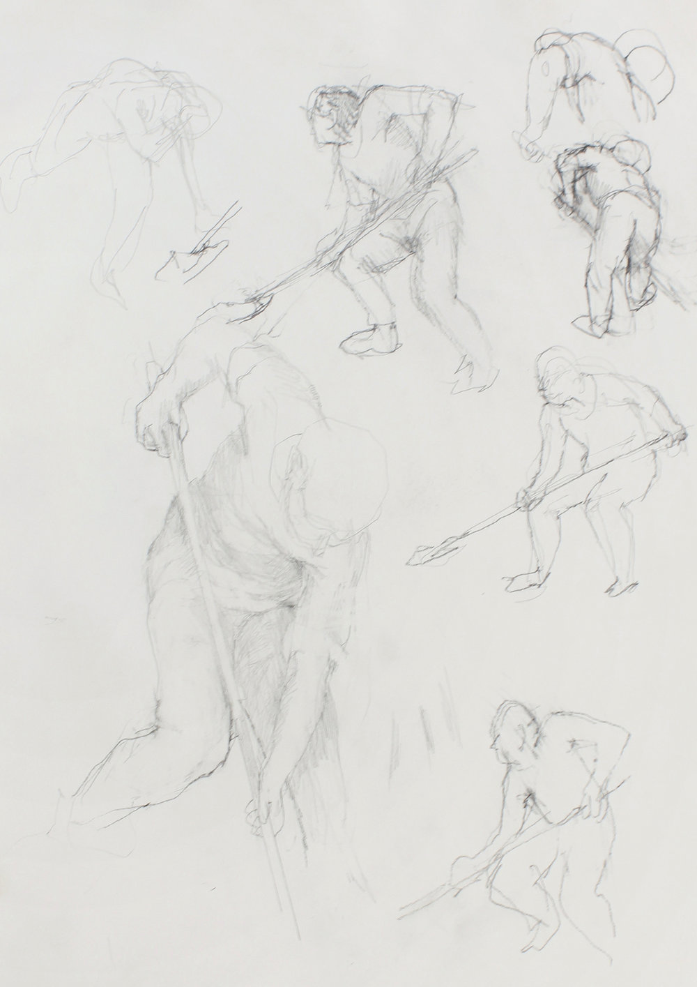 1986_Study_of_Multiple_Diggers_pencil_on_paper_15x11in_WPF609.jpg