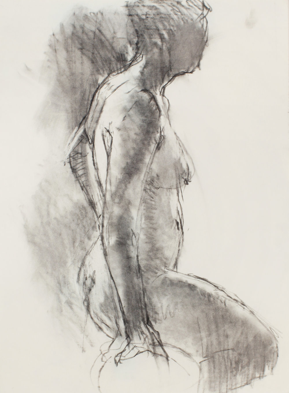 Standing Nude in Profile with Raised Leg