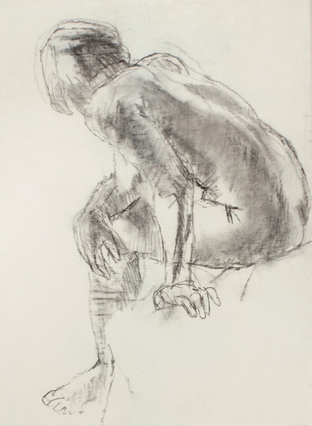 Seated Nude Bending Forward From Back