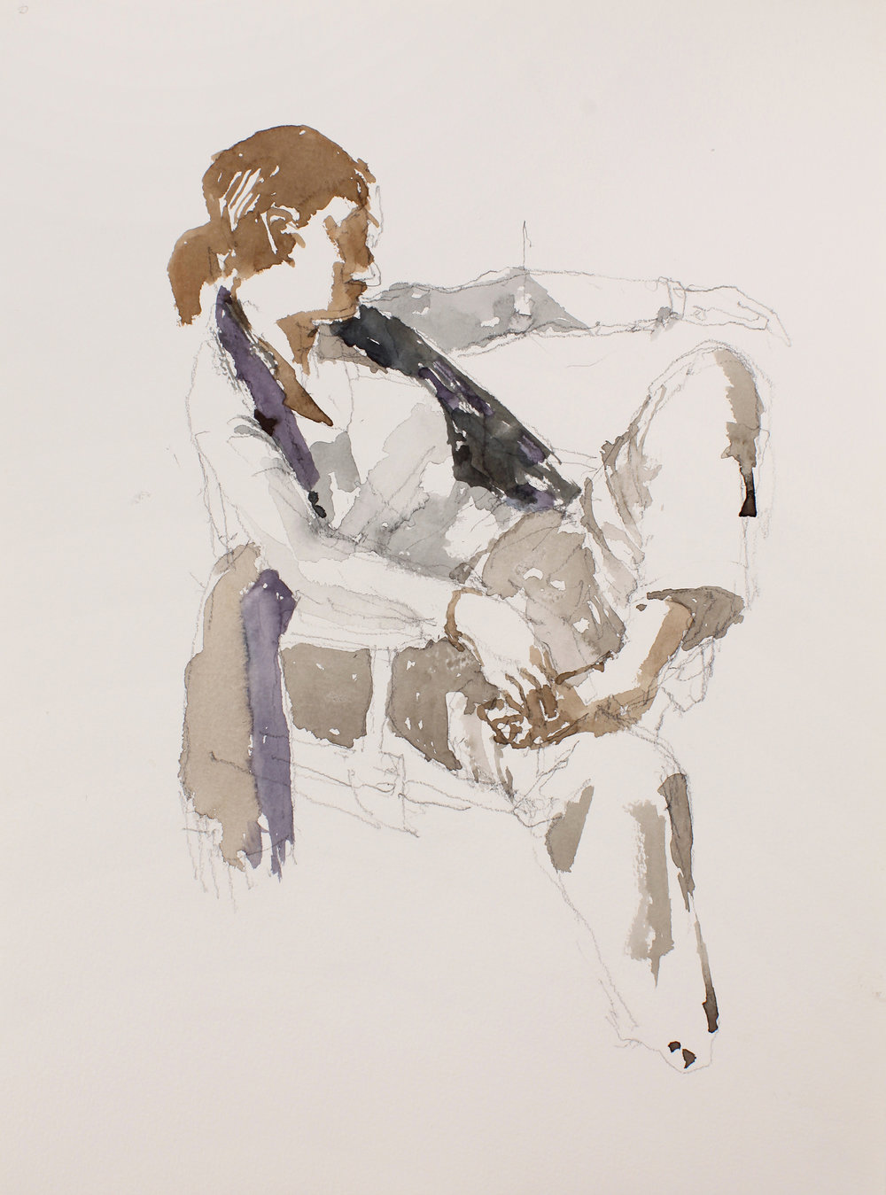 Seated Female with Long Scarf and Bare Foot