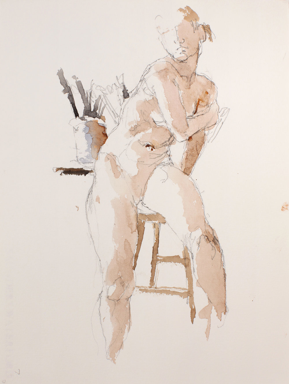 Nude Seated on Chair with Container of Brushes