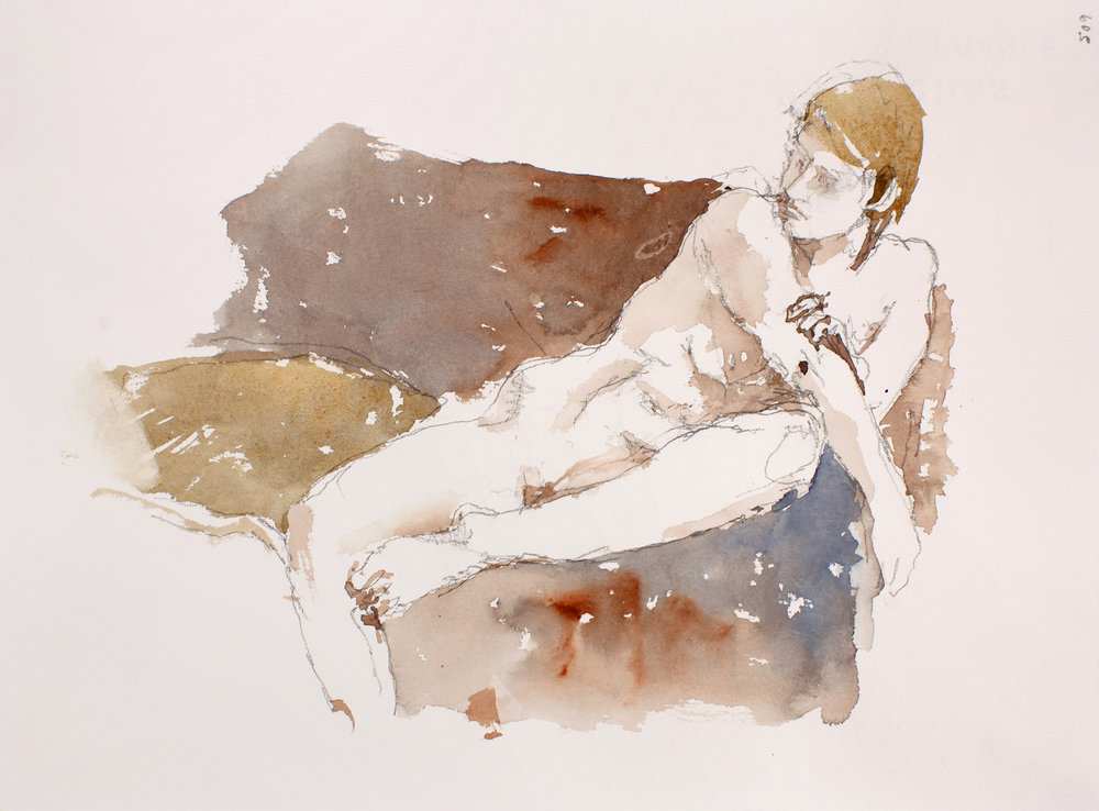 Nude on Couch with Crossed Arm
