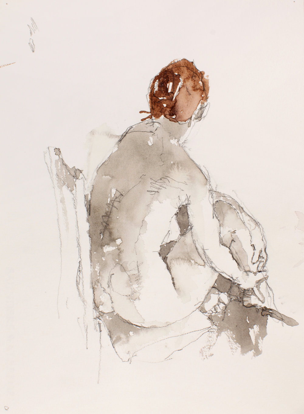 Seated Nude From Back Holding Ankle