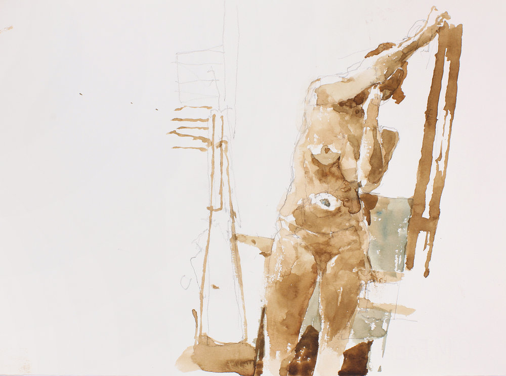 Standing Nude Holding Easel