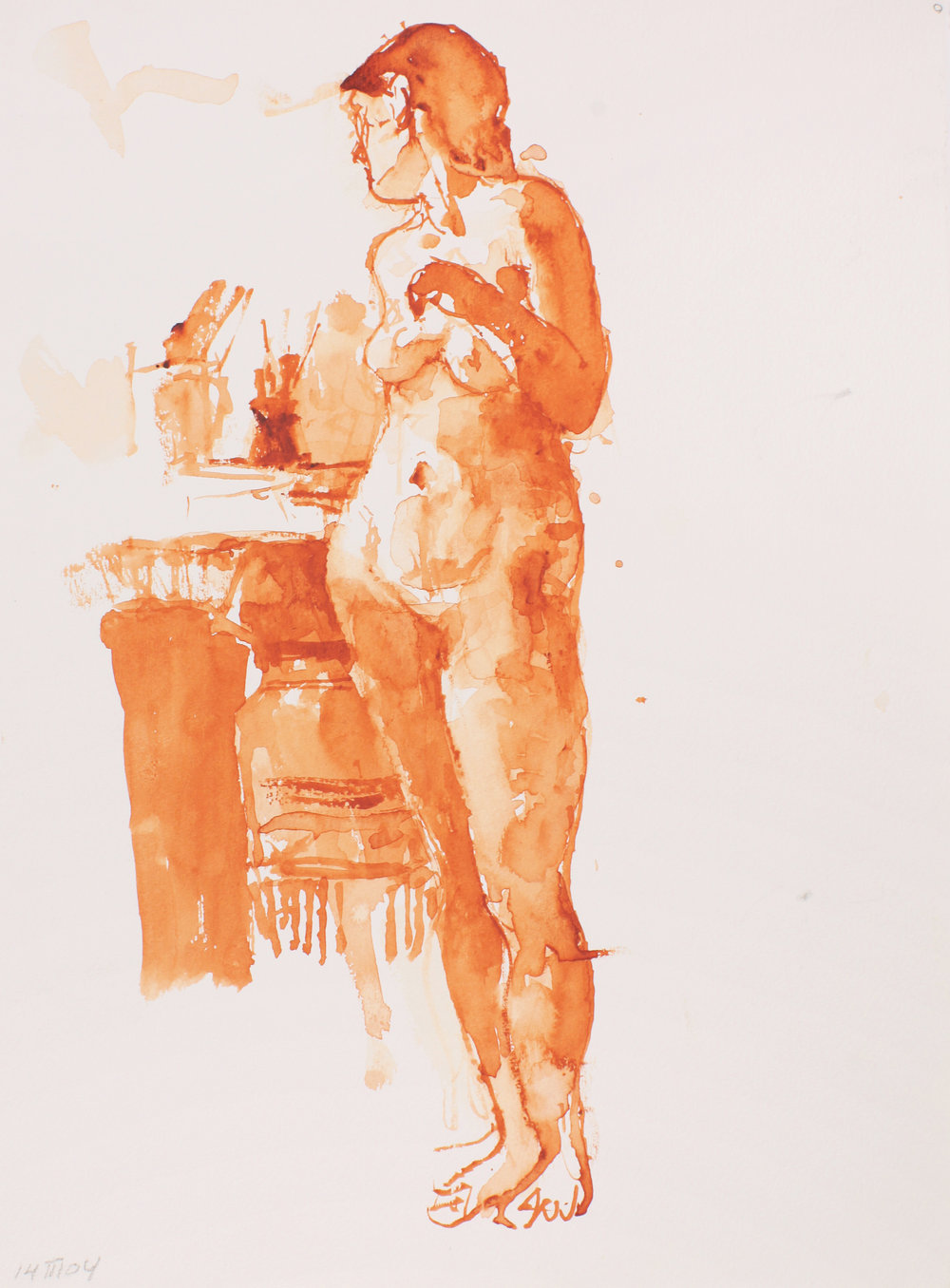 Standing Nude with Brushes