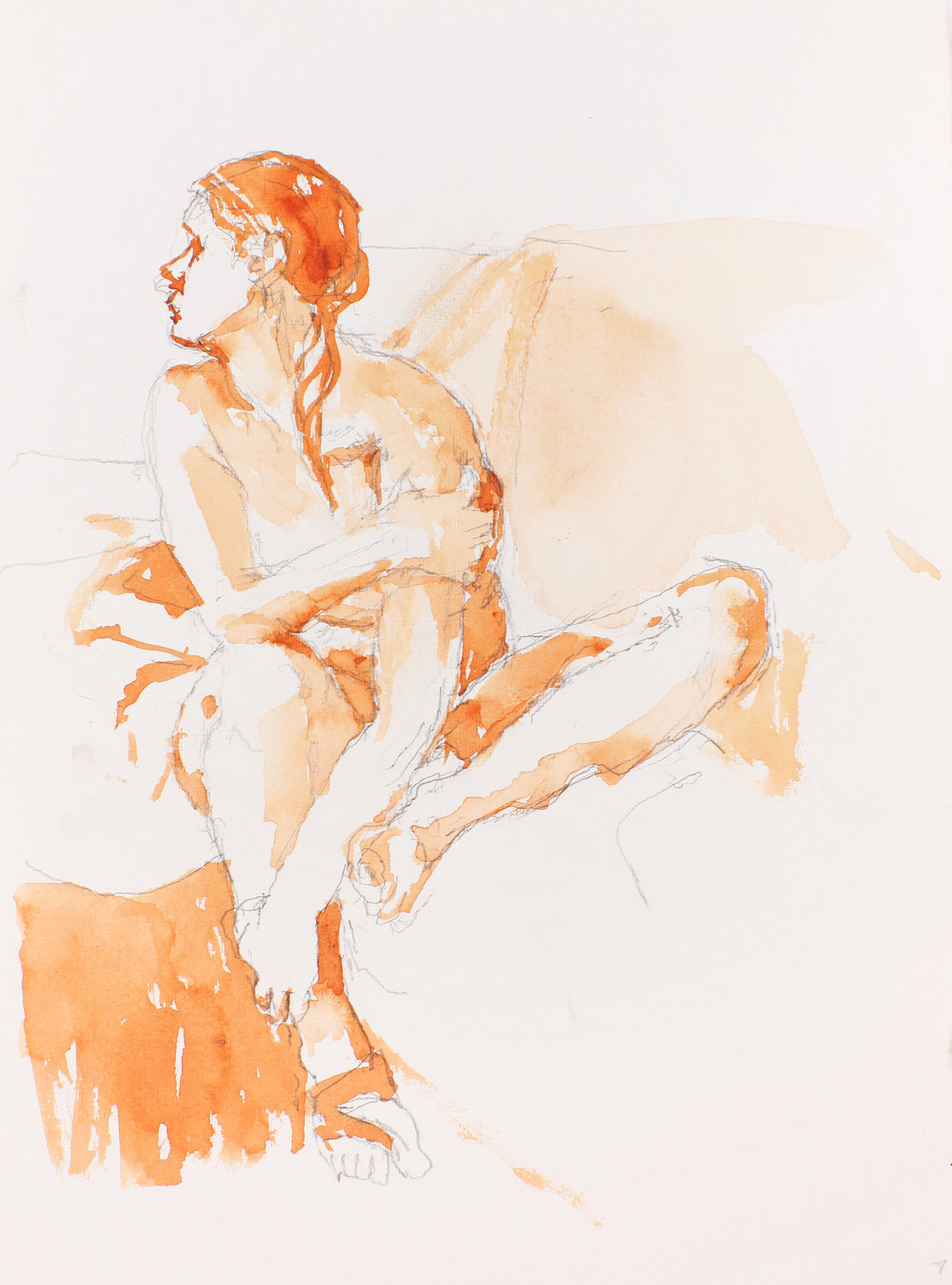 Seated Nude with Bent Leg and Crossed Arm Facing Left