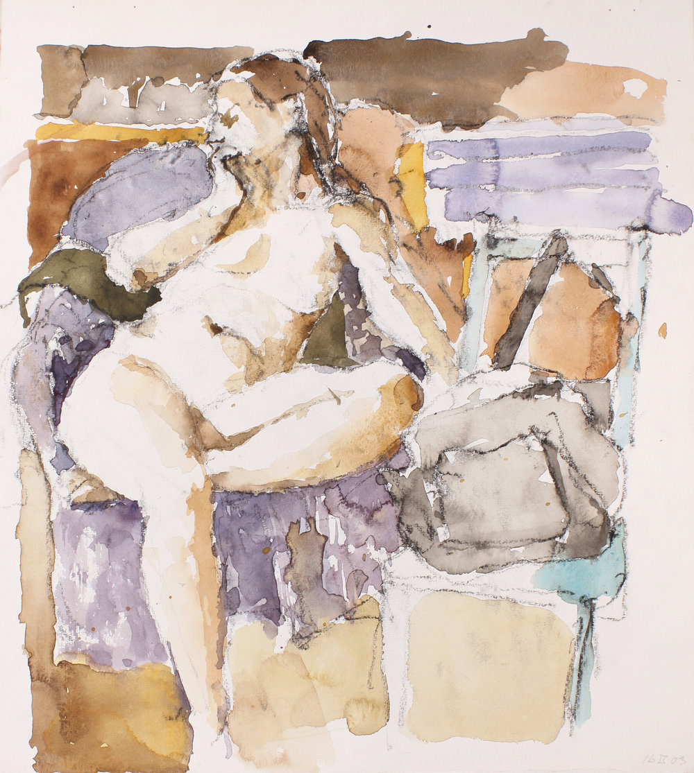 Nude Seated on Mauve Armchair in Studio