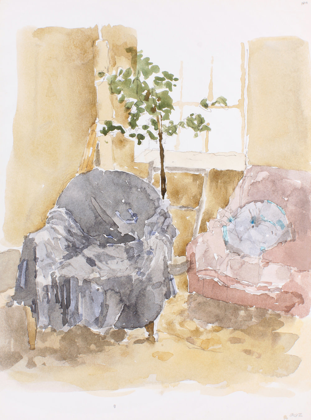 2002_Studio_Interior_with_Plant_and_Covered_Chairs_watercolour_and_pencil_on_paper_15x11in_WPF640.jpg