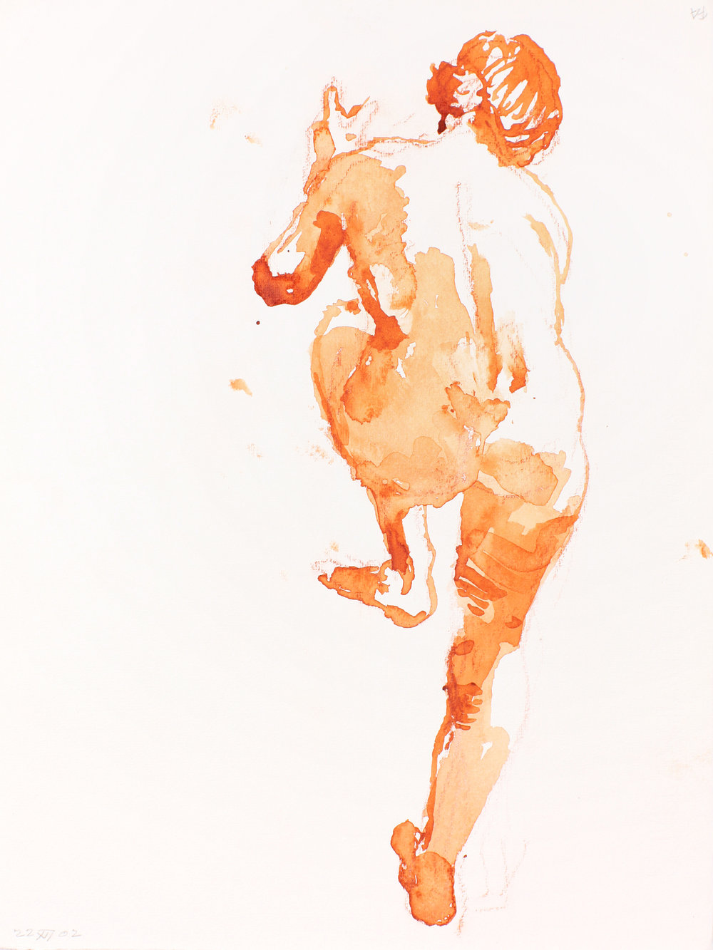 Standing Nude with Raised Left Leg From Back