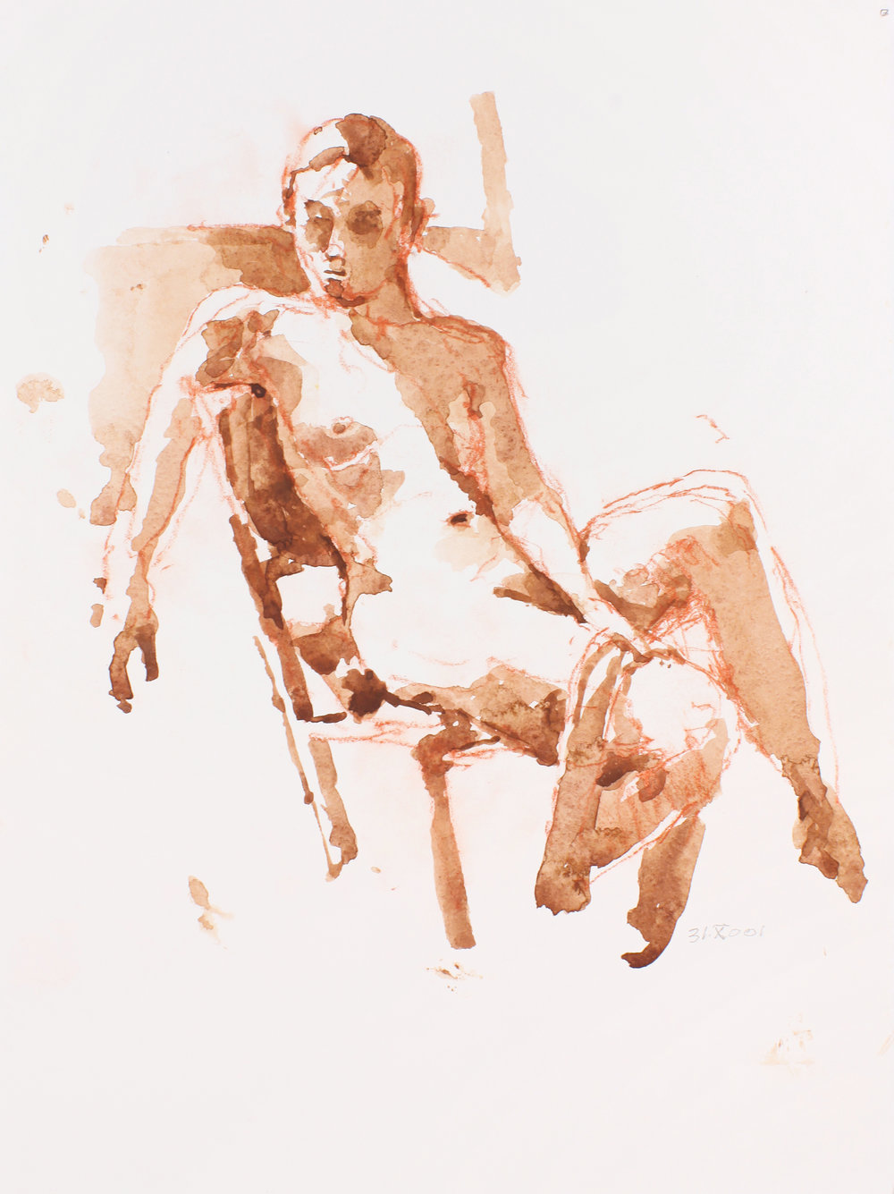 2001_Seated_Nude_with_Scarf_Wrapped_Around_Left_Leg_watercolour_and_red_conté_on_paper_15x11in_WPF154.jpg