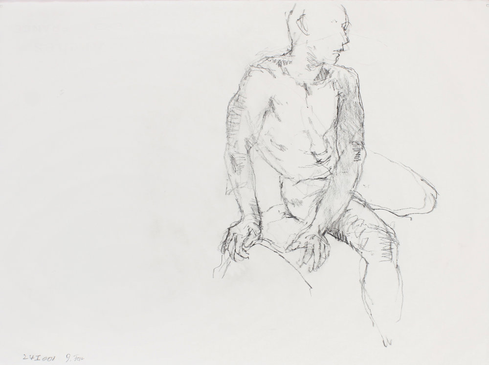 Seated Male Nude with Extended Arms