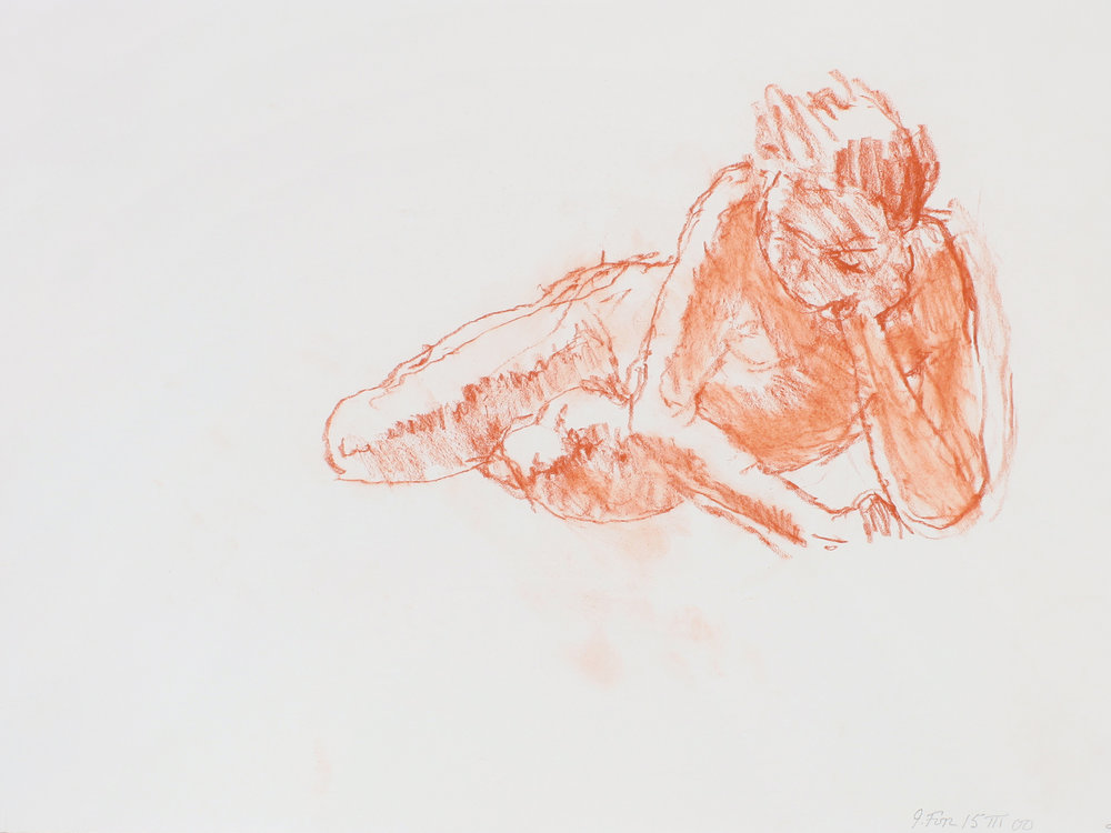 Half Reclining Nude on Floor with Hand on Head