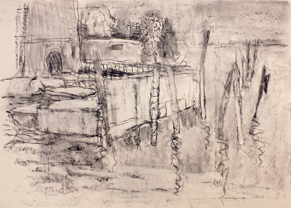 1998_Dock_on_Water_charcoal_on_cream_coloured_paper_20x27in_WPF125.jpg