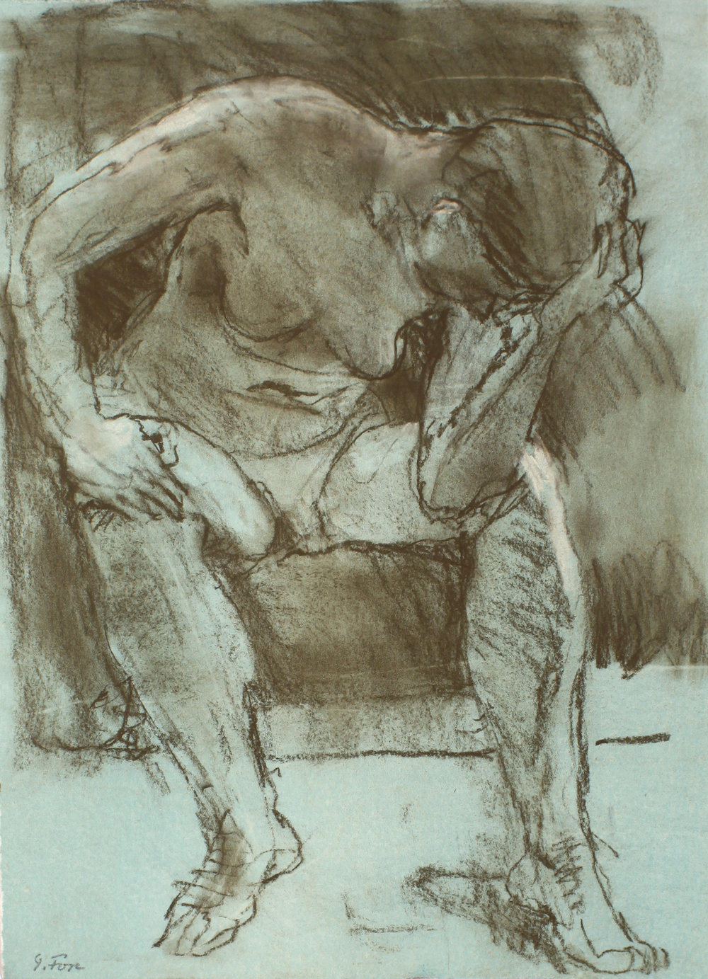 1994_Figure_with_Head_in_Hand_pastel_on_green_painted_paper_15x11in_WPF523.jpg