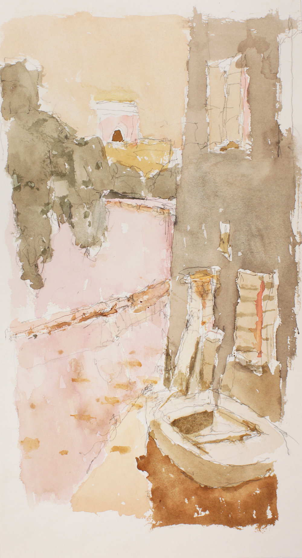 Canal with Pink Wall Study