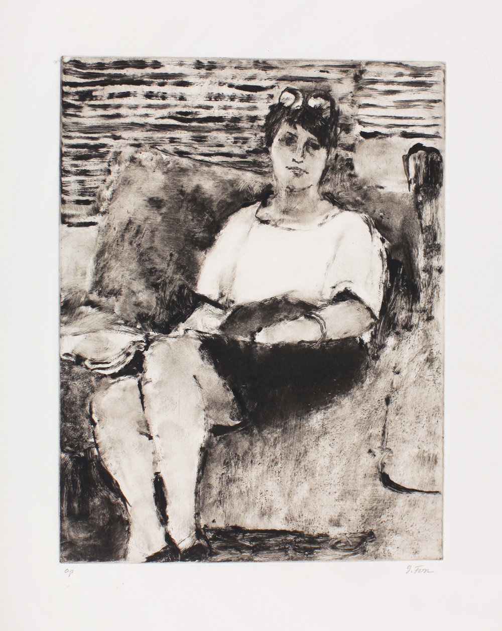 1990_Sandra_Sitting_on_Couch_monotype_on_paper_Paper_18x13in_image_12X9in_WPF433.jpg