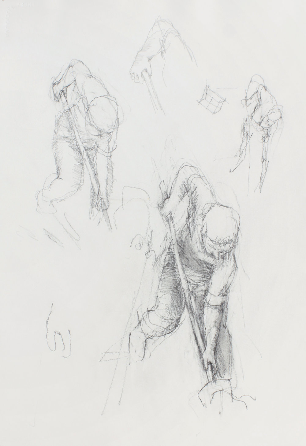 Study of Four Diggers with Shovel