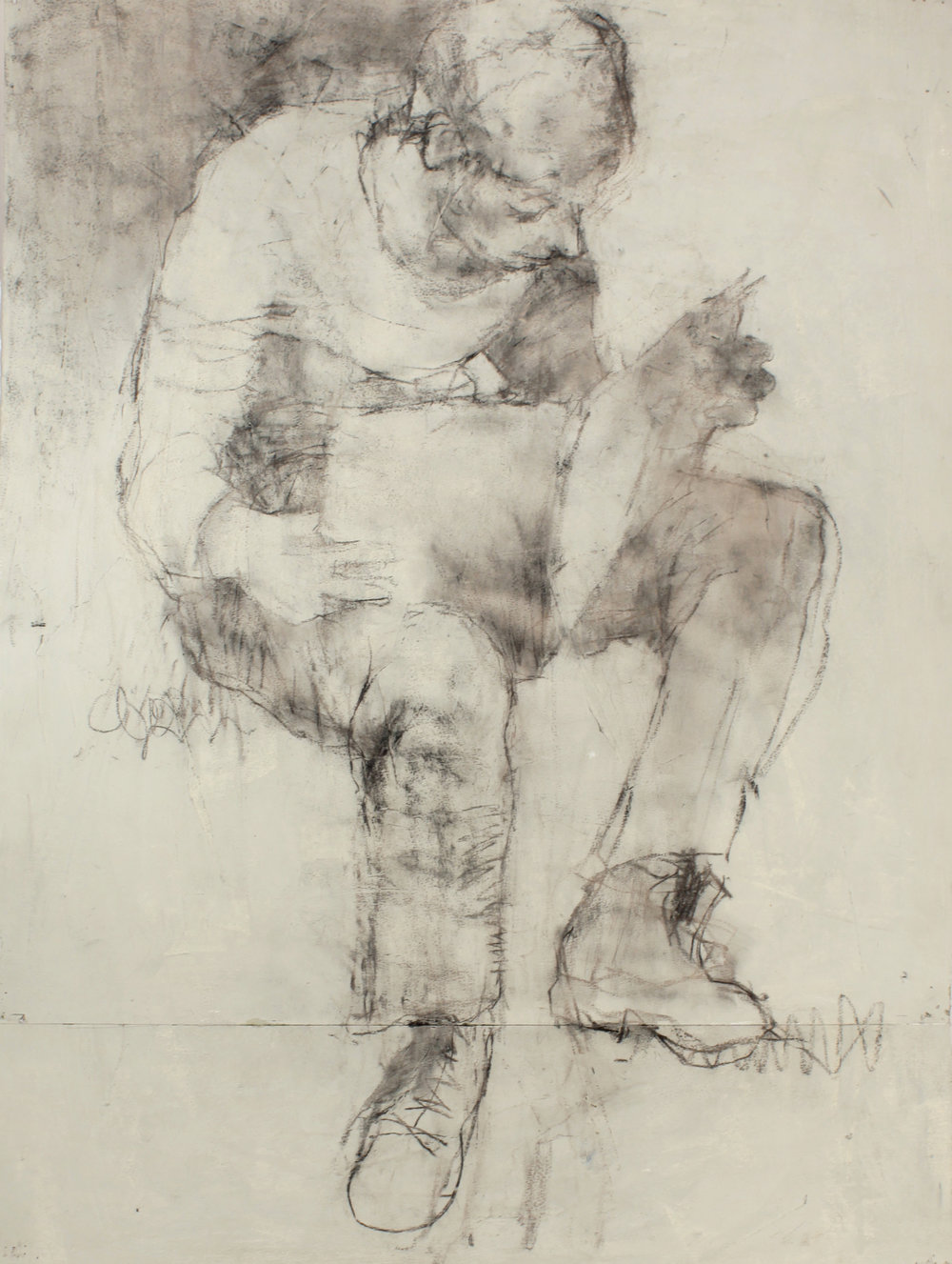 1980s_Seated_Boy_Reading_newspaper_charcoal_on_painted_paper_30x22in_WPF457.jpg