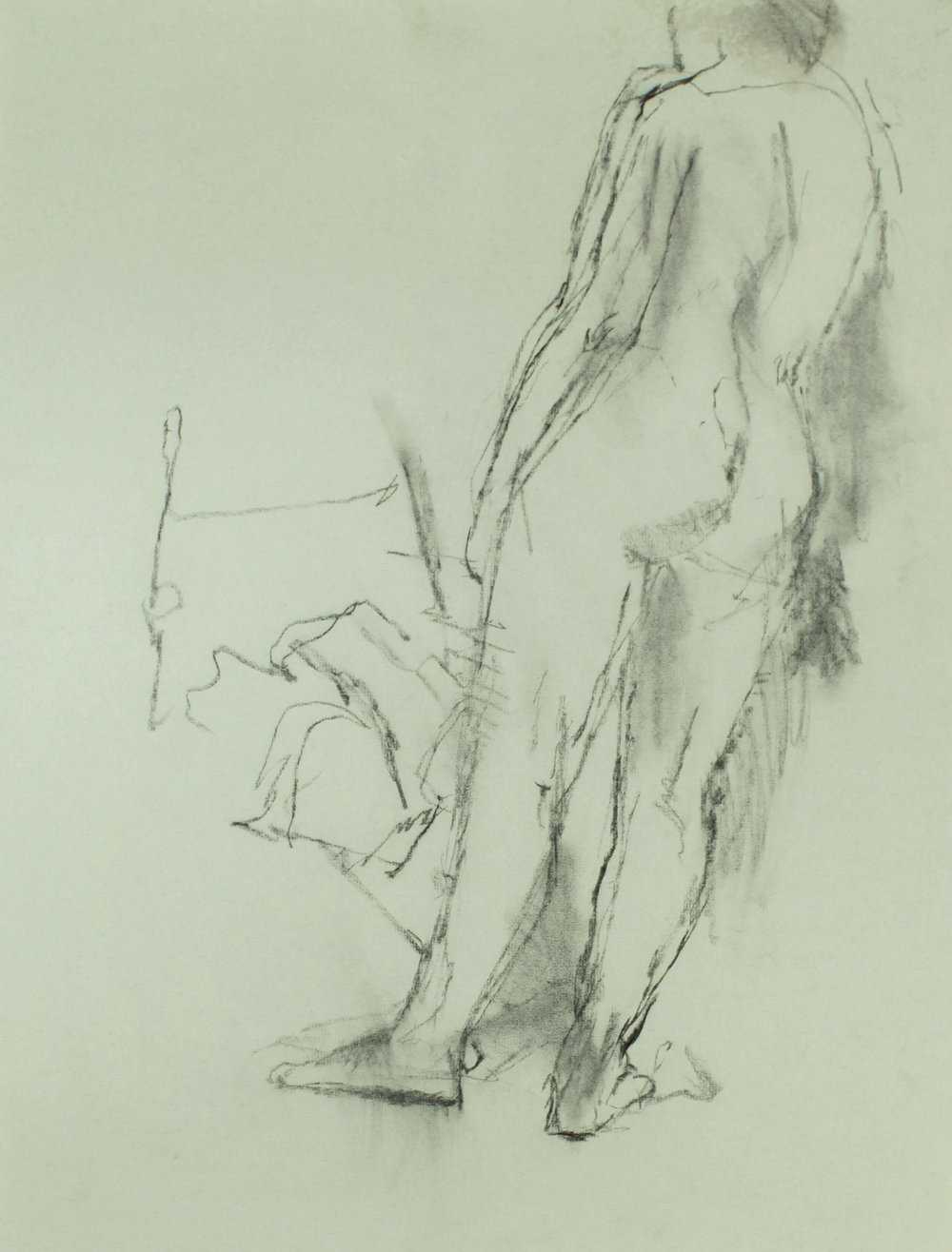 1980s_Nude_Standing_in_Front_of_Chair_charcoal_on_green_laid_paper_25x19in_WPF463.jpg