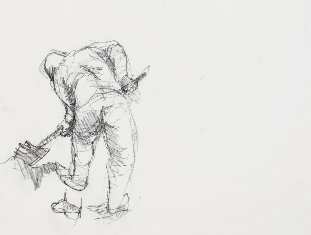 1980s_Bending_Digger_with_Shovel_from_Back_conté_on_paper_11x15in_WPF603.jpg