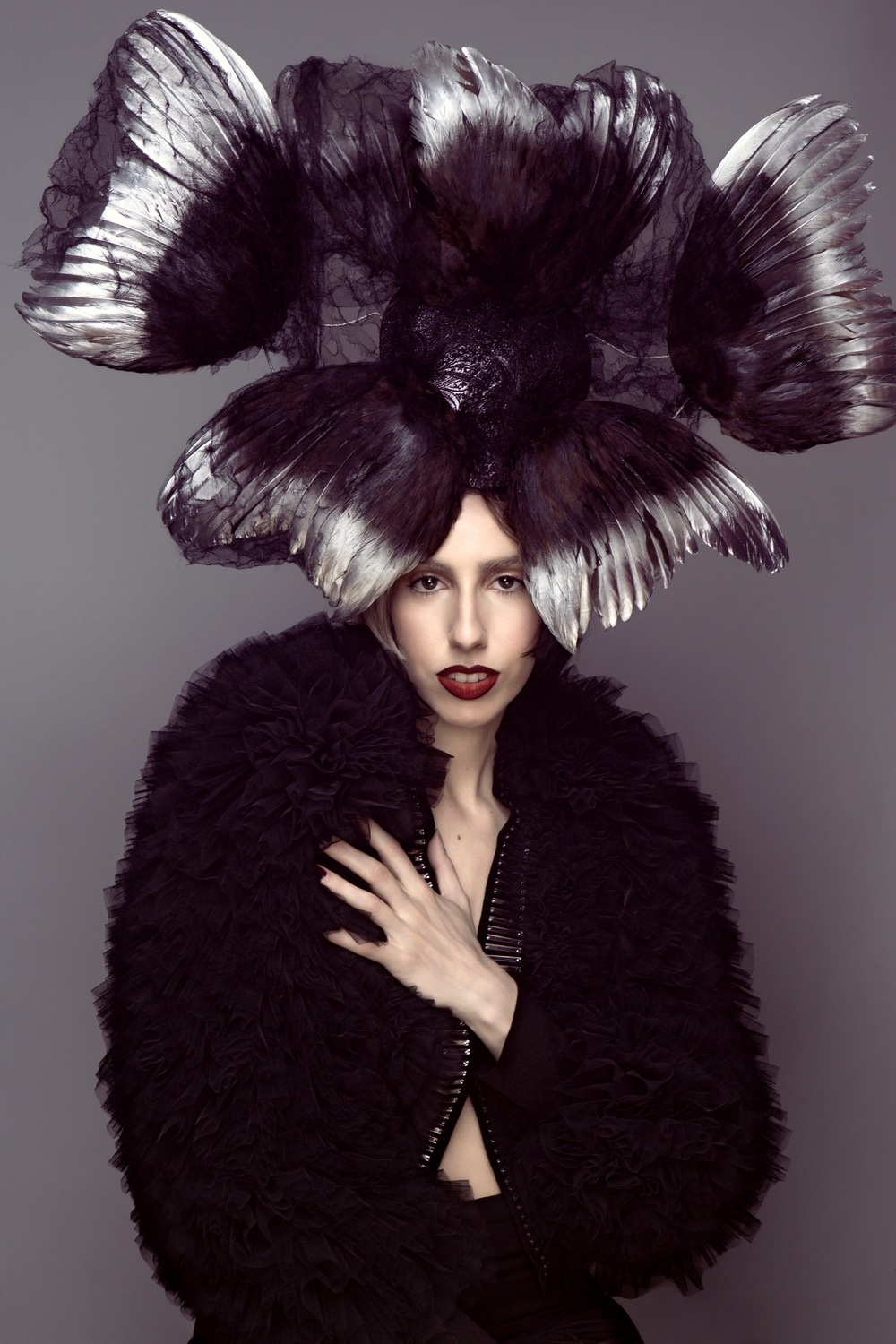 Photo: Lenox Fontaine | Makeup: Danielle Lewis | Hat: Anya Calends | Jacket: Viktor & Rolf | Lipstick: MAKE BEAUTY