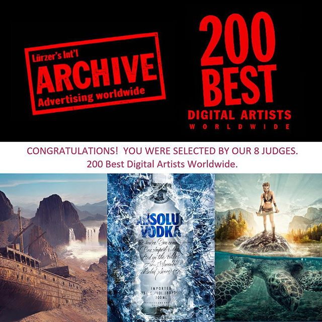 Proud to have been selected by Lürzer's Archive as one of the 200 best digital artists worldwide :) . . . #lurzersarchive #200bestdigitalartists #retoucher #worldwide #digitalartist