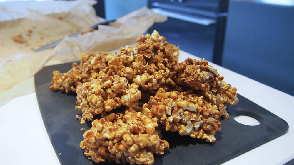 coconut caramel popcorn slices