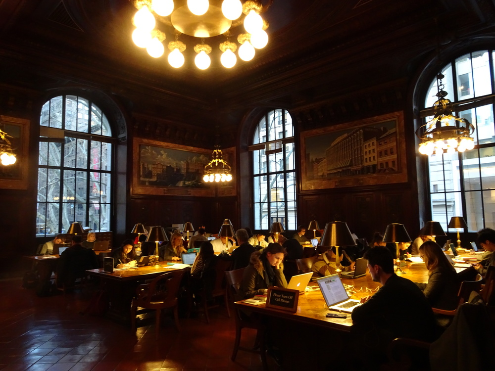 One of the many beautiful rooms in the New York Public Library's Stephen A. Schwarzman Building at Bryant Park in New York City.