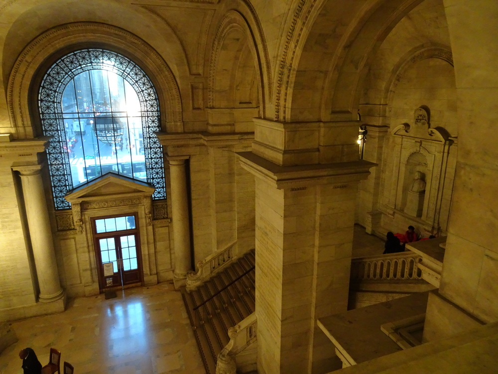 The grand lobby and staircase of the New York Public Library's Stephen A. Schwarzman Building.