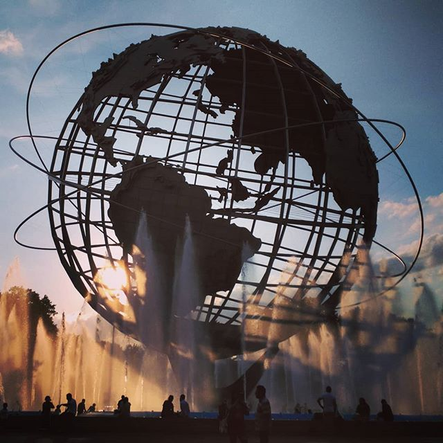 Checking out the new fountain at the Unisphere. Feeling like we're at the World's Fair back in the day.