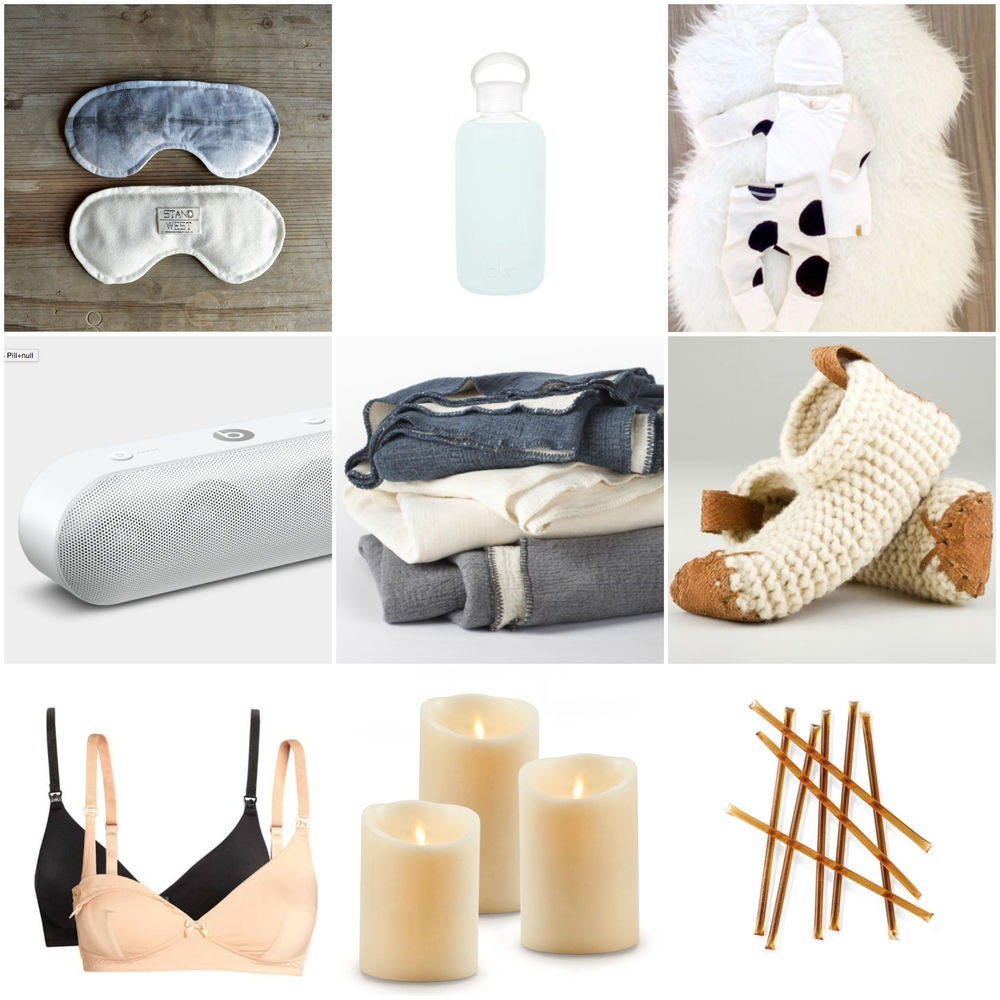 Stand West  eyemask,  bkr  water bottle,  Londin Lux  newborn outfit,  Beats by Dre  speakers,  Coyuchi  organic baby blanket,  Chilote  slippers,  Cake Maternity  nursing bra,  Luminara  battery candles,  Teavana  honey sticks