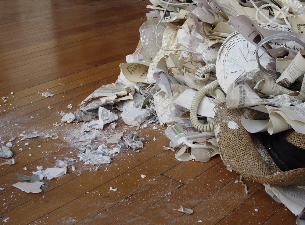 Contingence  | 2012 | plaster &domestic debris | 24 x 72 x 36