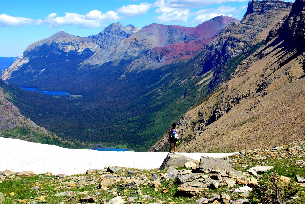 Taking in the vastness of Nature at Ahern Pass in Glacier National Park.