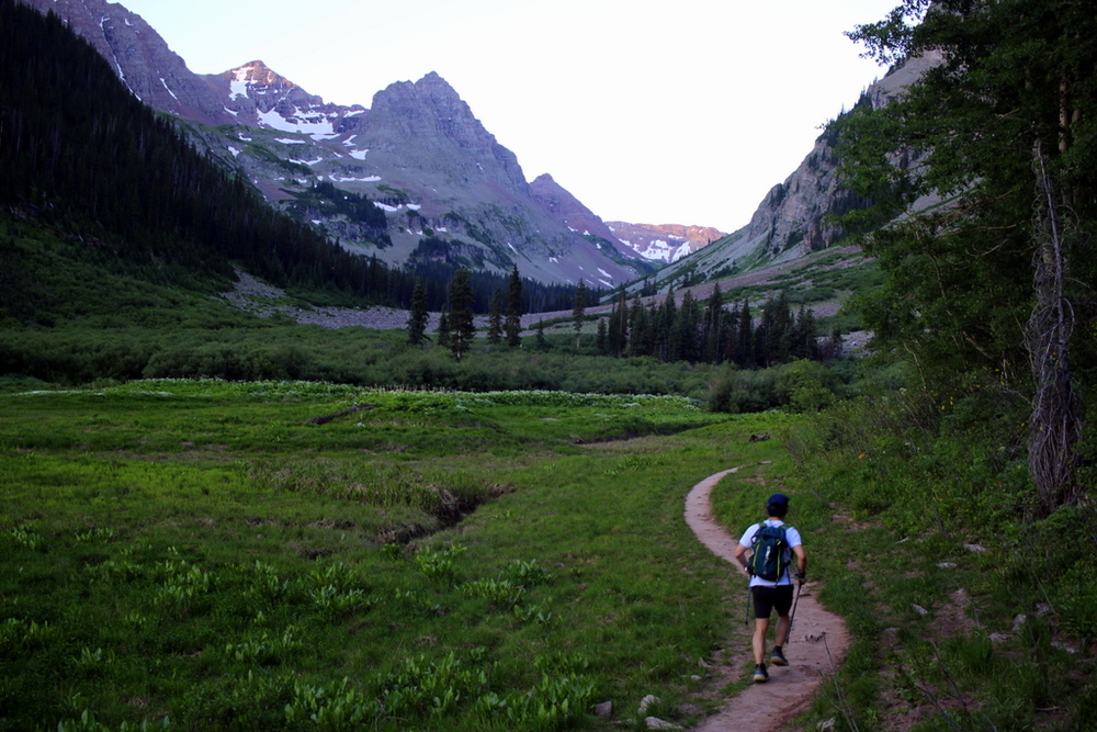 6:20 a.m. Running towards West Maroon Pass.
