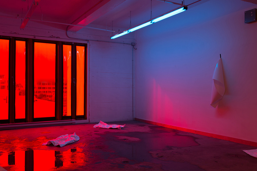 Photography Chamber, 2014.  Installation involving the flooding of gallery floors and subsequent evaporation of water, lighting gels, fluorescent lighting, ambient daylight and direct sunlight, tyvek, photographic paper, gaffer tape.